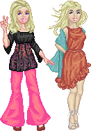 Pixel dolls in different poses